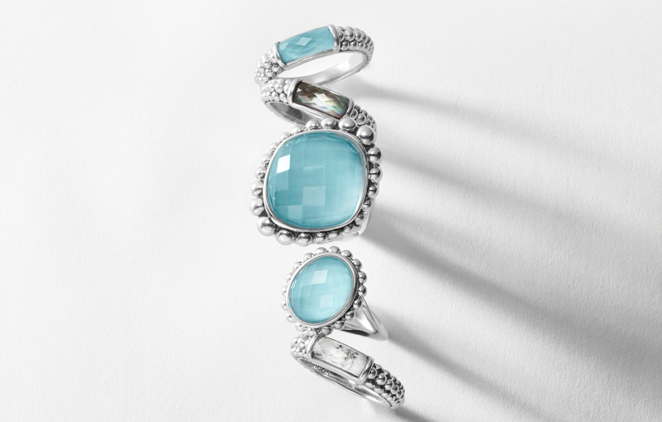 Maya turquoise stacking statement rings