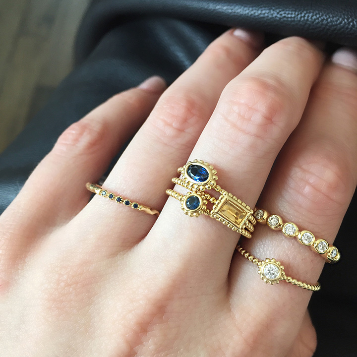 how-to wear 18k gold sapphire diamond stacking rings