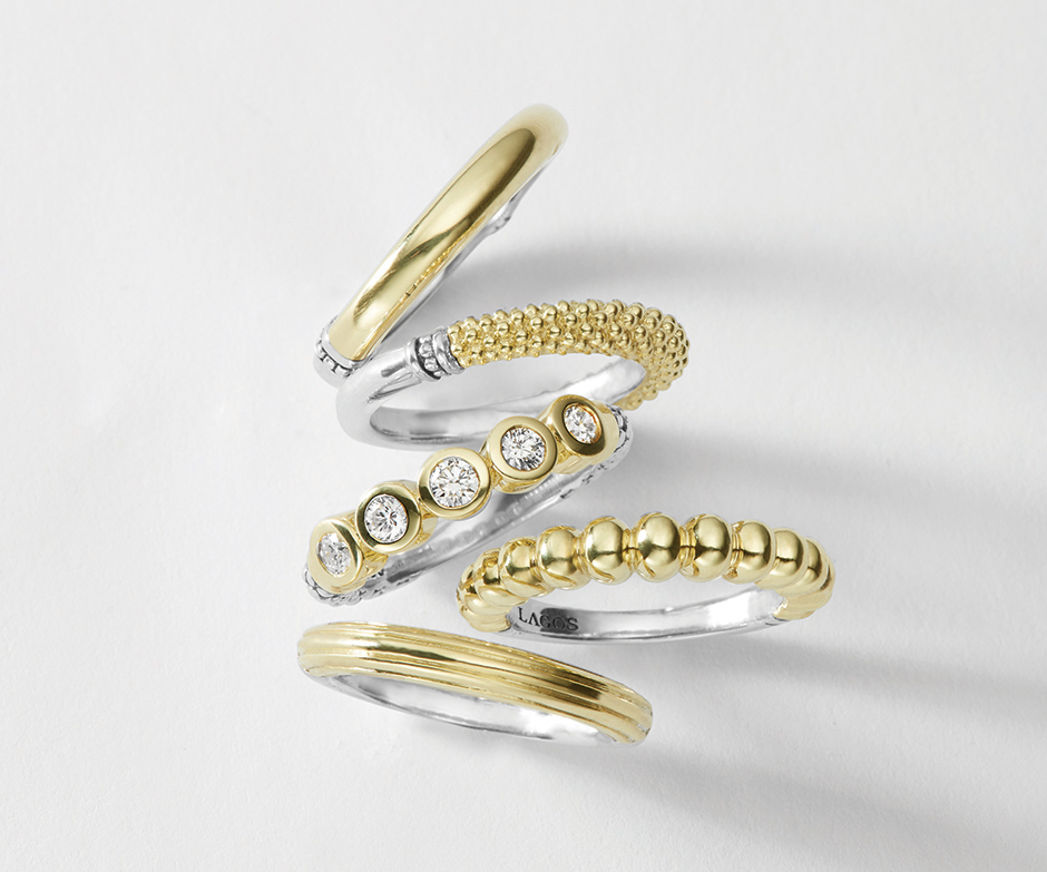 your favorite lagos jewelry stacking rings to wear with diamonds 18k gold