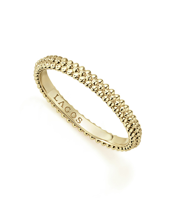 Caviar Gold Stacking Ring