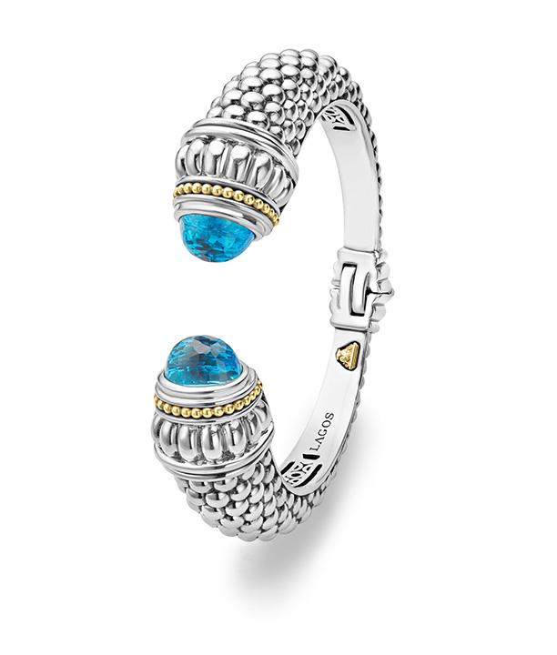Caviar Color Gemstone Cuff Bracelet