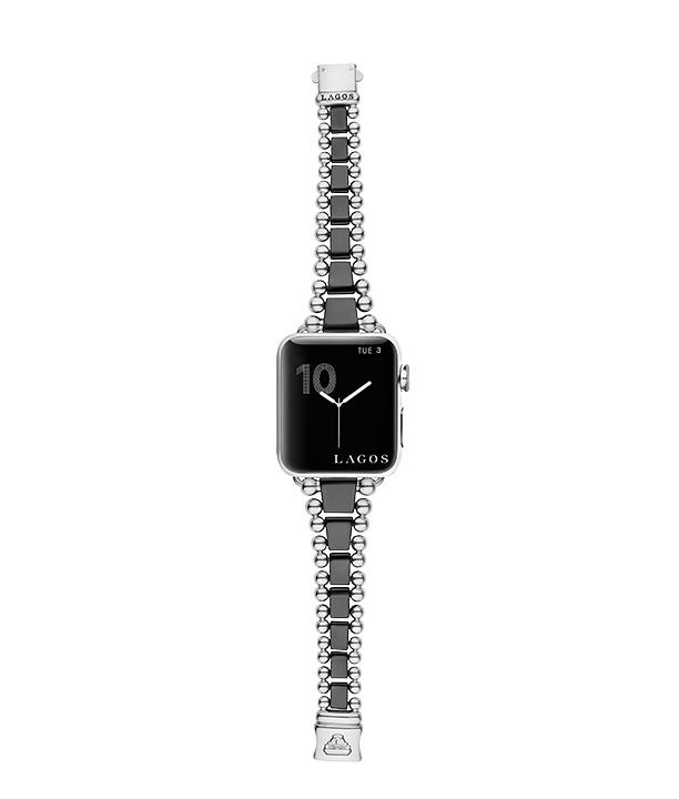Black Ceramic Smart Caviar watch bracelet on an Apple Watch