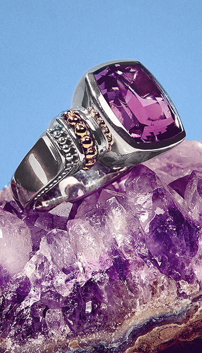 amethyst large gemstone ring