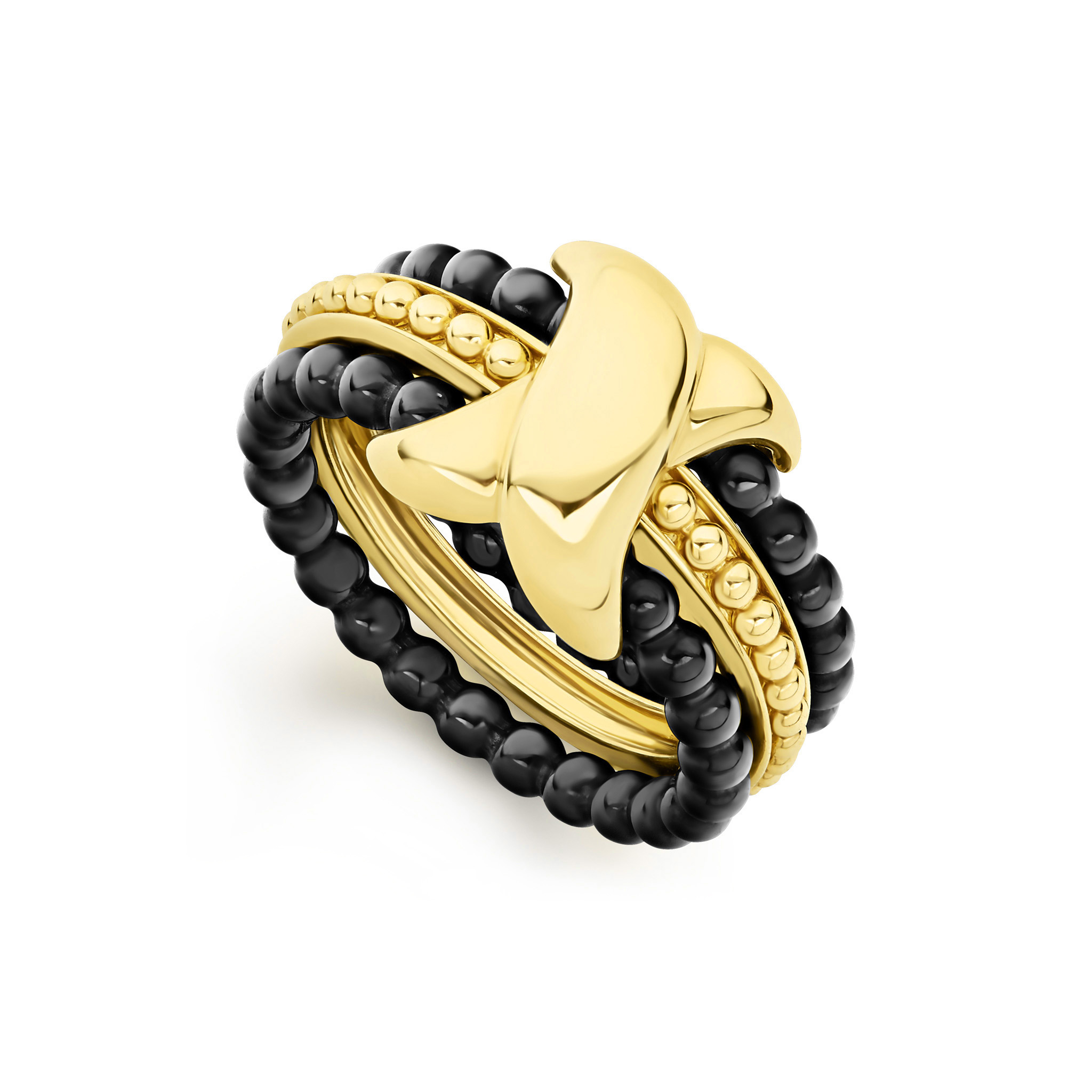 LAGOS Color Switch Caviar Gold Stacking Ring Set